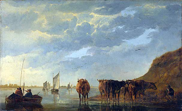 """Herdsman with Five Cows by a River"" (1650) by Aelbert Cuyp, National Gallery of London."