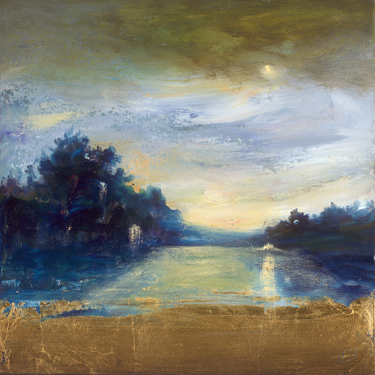 """Deep Blue Landscape"" (2008) by Holland Berkley, Park West Gallery."