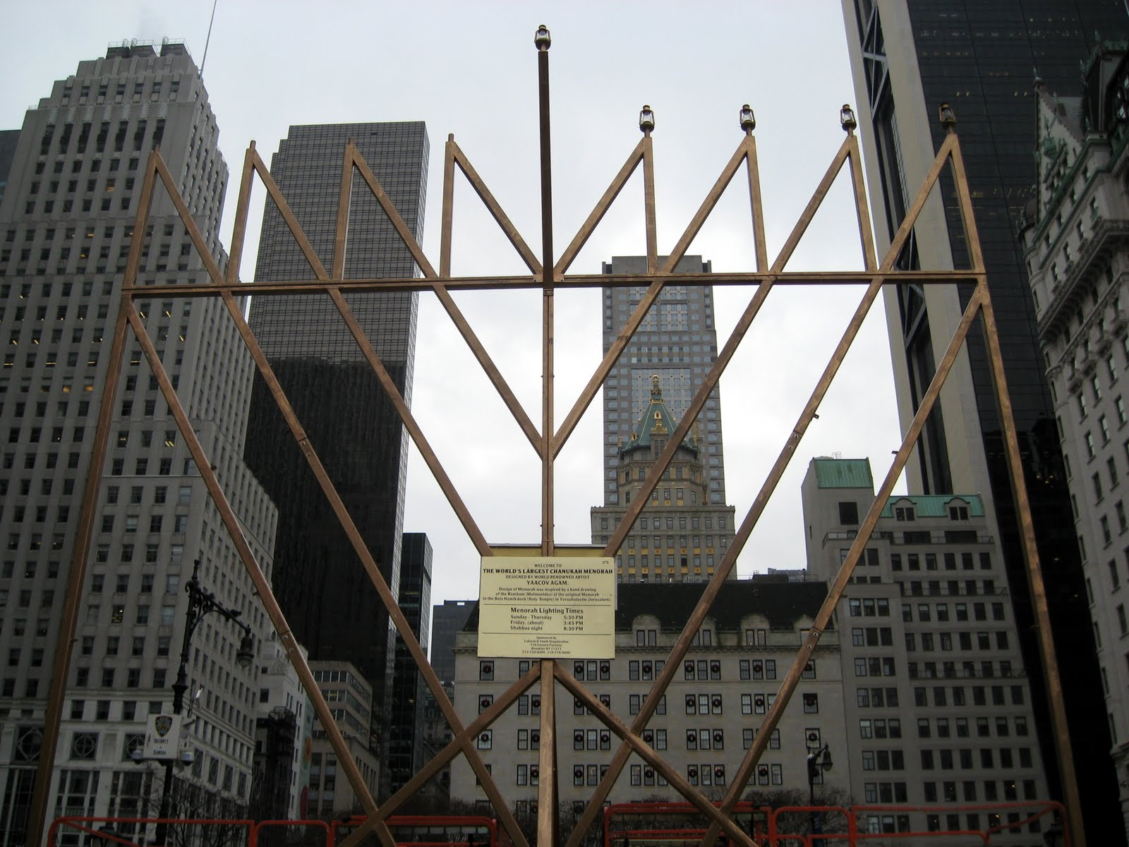 world's largest hanukkah menorah, yaacov agam, new york city